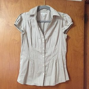 Banana Republic Cap Sleeve Button Front Stretch To